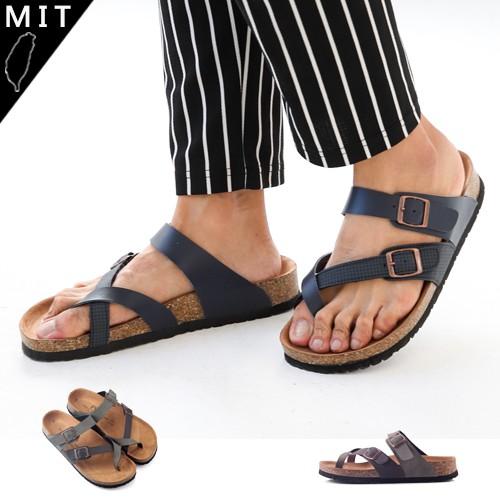 LJB 男款MIT 雙釦環格紋交叉自然足跡夾腳拖鞋