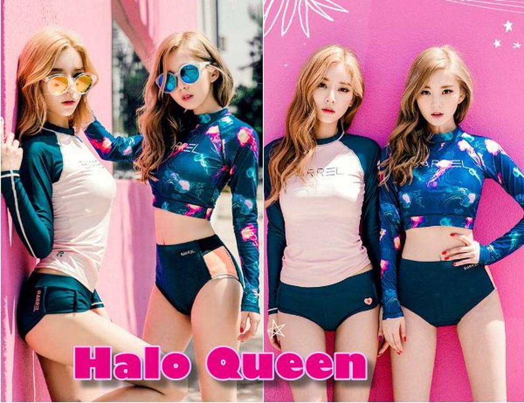 ~Halo Queen ✈韓國春 新品海島渡假姊妹好閨蜜甜美粉藍碎花防曬海上活動音樂季休閒