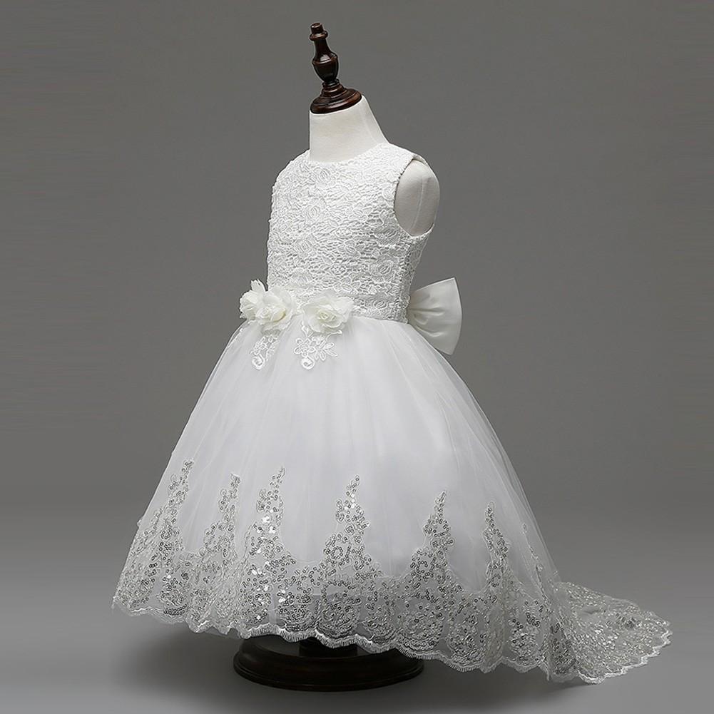 女童蕾絲無袖連衣裙花童拖尾禮服公主裙