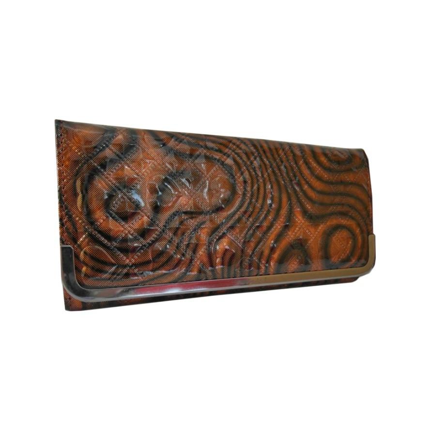 ~復古~ 款長夾流線水紋幾何漆皮不規則亮皮對折兩折皮夾零錢包多卡夾信用卡鈔票收納方便招財皮
