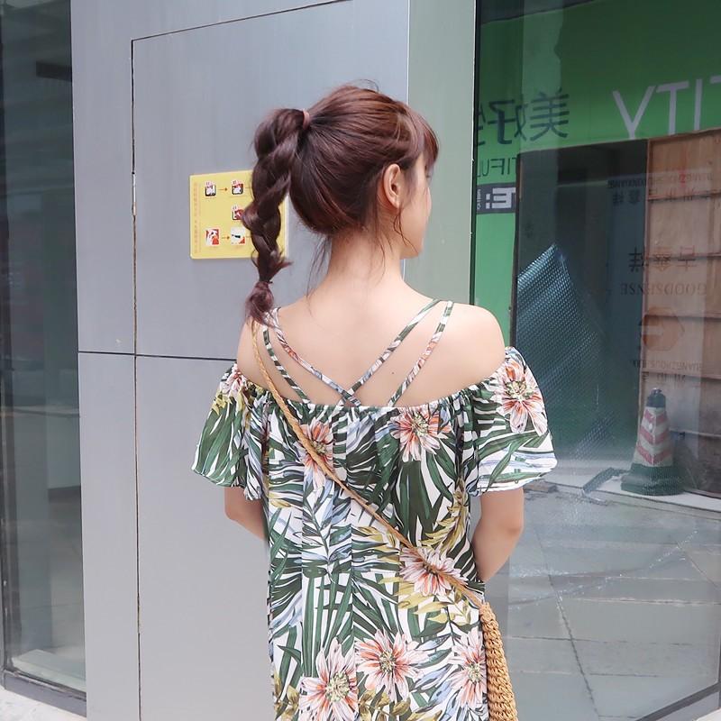 韩系洋裝氣質修身清新印花壹字領吊帶裙子雪紡連衣裙