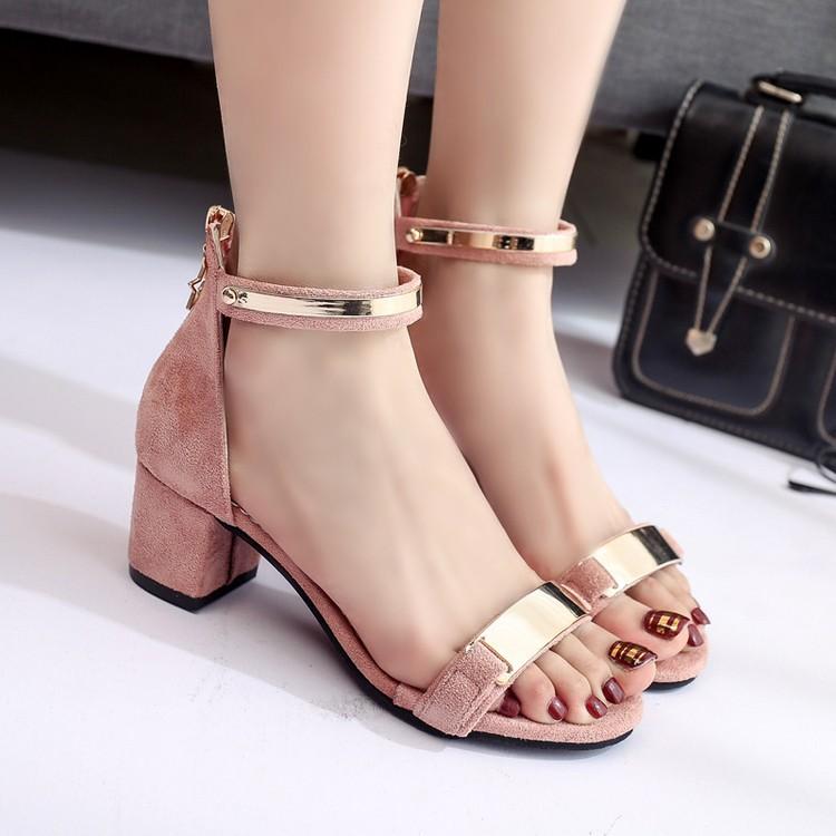 創世紀3C 旗艦店涼鞋女 中跟高跟鞋 百搭一字扣粗跟女士羅馬鞋性感女鞋
