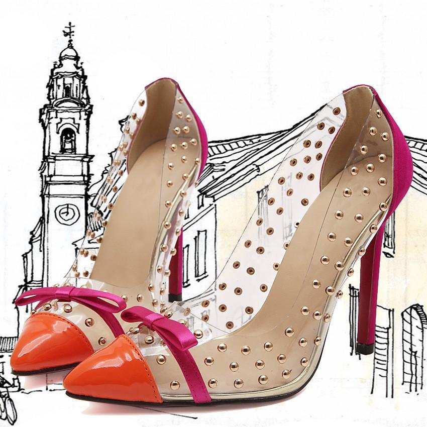 透明細跟高跟鞋蝴蝶結尖頭鉚釘婚鞋外貿女鞋單鞋