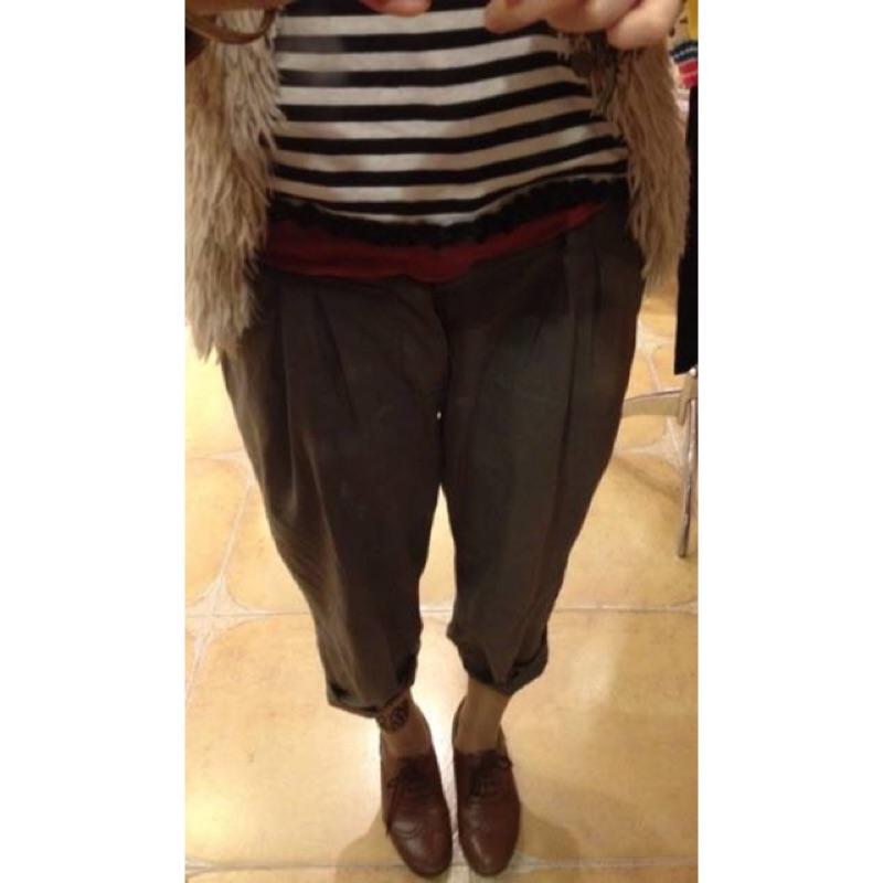 日系棉麻軟 橄欖綠寬褲低腰褲隨性lowrys farm jeanasis Heather