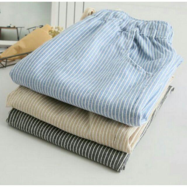 ~ ~小清新直條紋鬆緊高腰抽繩寬鬆棉麻休閒長褲