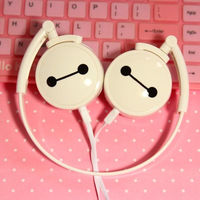 DIID 可愛卡通大白頭戴式手機耳機可折疊帶麥便攜男女音樂小米女