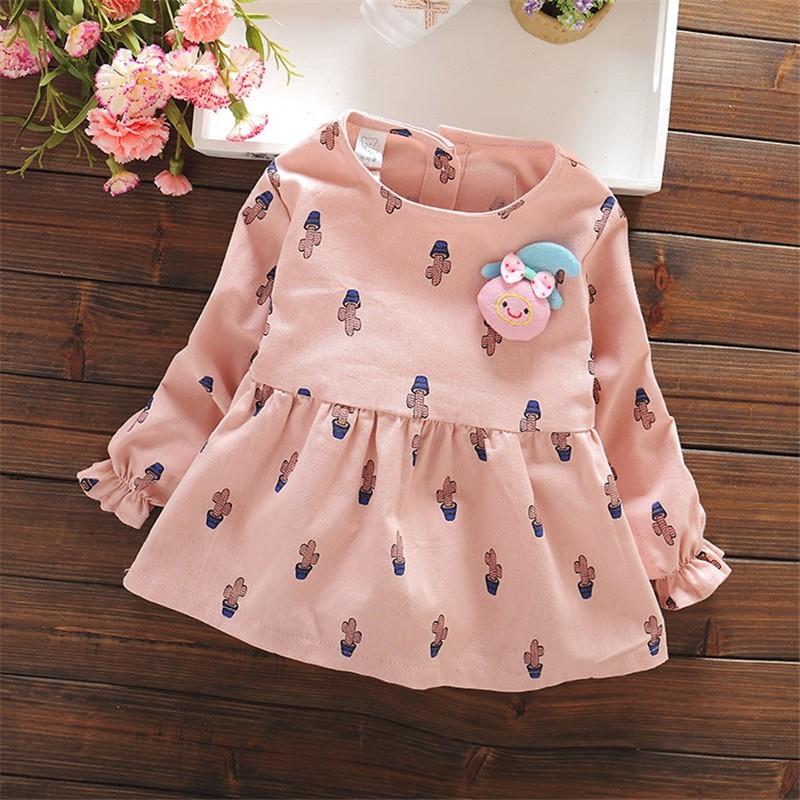 新品寶寶長袖連衣裙 印花女童純棉連衣裙圓領小童長裙子