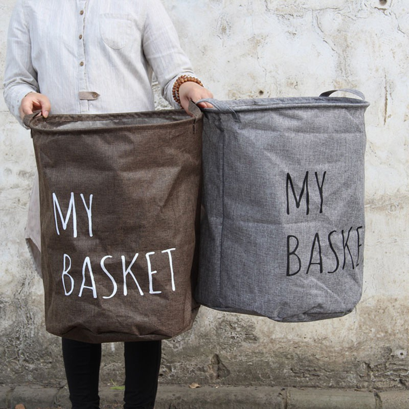 精緻亞麻可折疊洗衣籃
