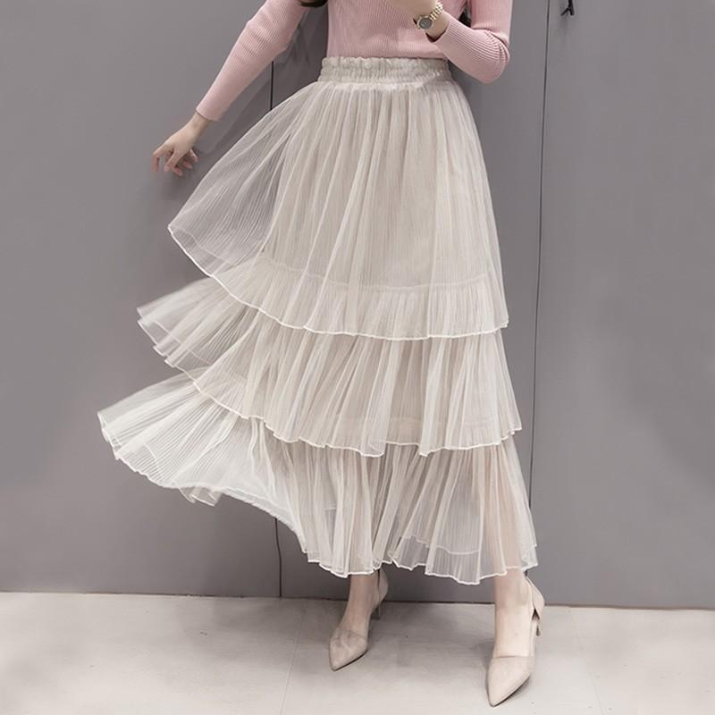 ~ 實拍~ 甜美松緊腰蓬蓬裙壓褶百褶三層網紗蛋糕裙顯瘦百搭仙女裙優雅氣質半身裙紗裙長裙