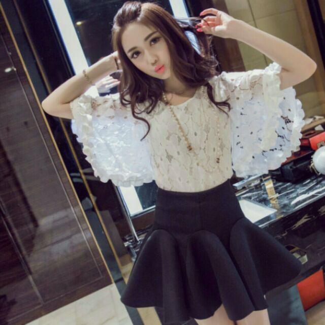 (S ~2L )名媛甜美風大喇叭七分袖蕾絲衫A08