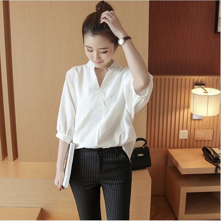 女裝上衣寬鬆休閒大碼V 領白襯衫