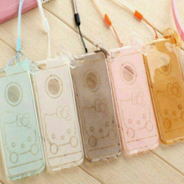 ↪ ↩蘋果iPhone6 Plus 閃粉超薄透明保護套卡通可愛 KT 貓手機殼手機套保護殼