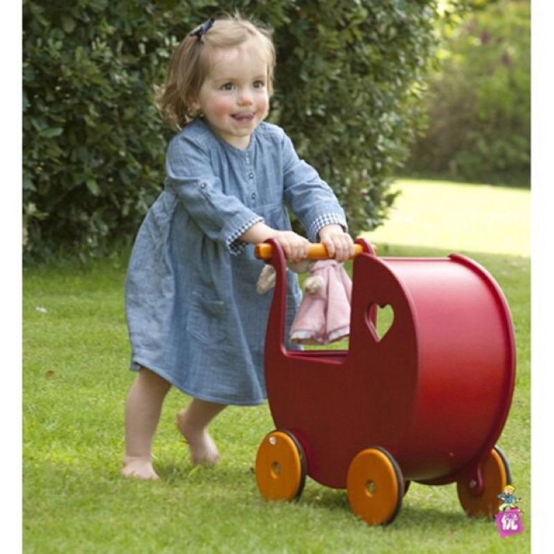 正品丹麥moover 夢幻心型娃娃手推車學步車原木無毒助步車 盒裝