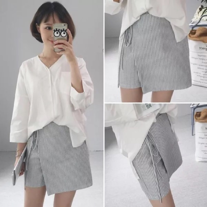 寬鬆顯瘦條紋不規則褲裙