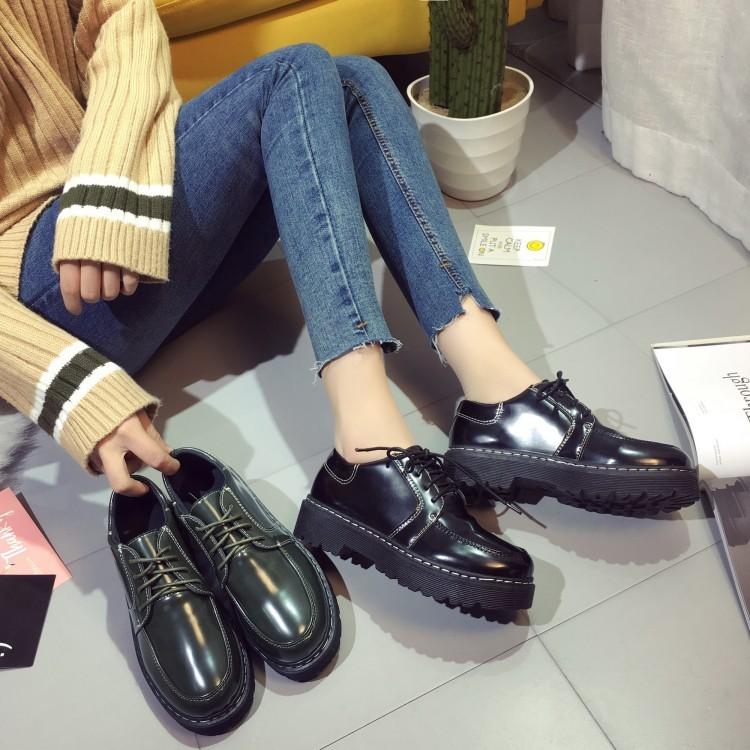 2016  款復古皮鞋英倫系帶學院風女鞋圓頭平跟厚底松糕單鞋