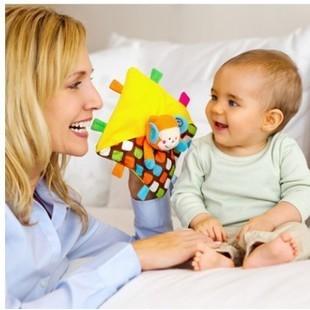 鎬媽布書布玩園孩子嬰幼兒安撫巾藍盒藍盒小猴子親子互動手偶柔軟搖鈴嬰兒玩具