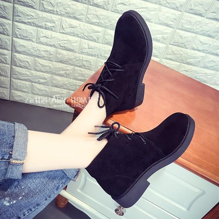 ♞短靴女春秋單靴短筒磨砂圓頭低跟平底系帶馬丁靴女英倫風學生裸靴
