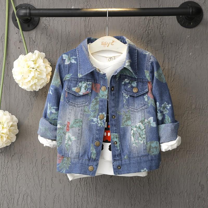 童年不同樣  套裝秋裝兒童秋款 2016 年潮流女童 復古印花 牛仔外套168008