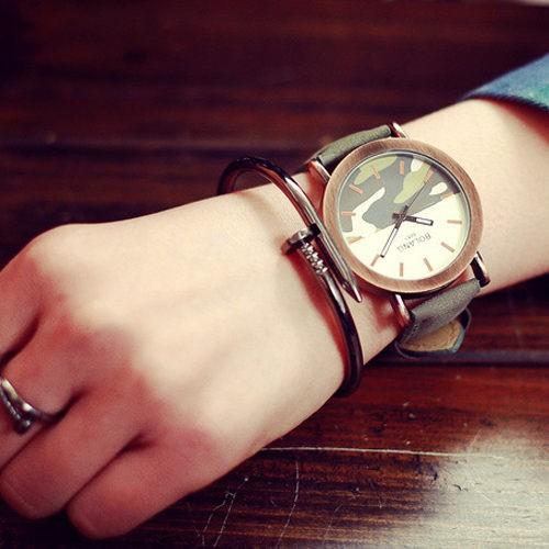 送錶盒原創 迷彩潮流 軍風復古 休閒簡約男錶對錶女錶學生手錶皮帶手表太陽的後裔W35