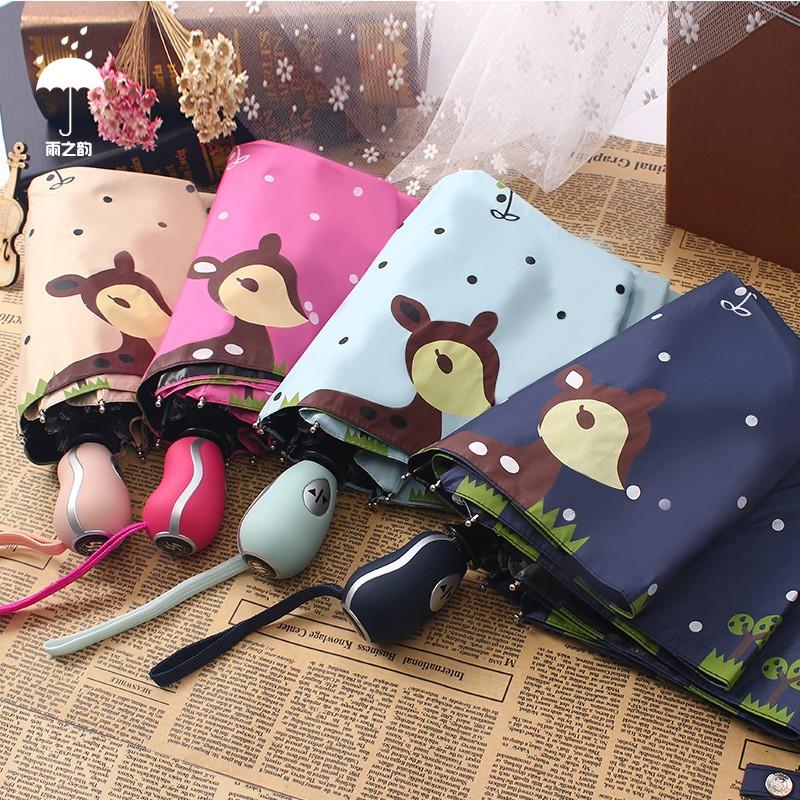 嬌妹 館韓國全自動黑膠折疊傘防紫外線卡通晴雨傘防曬遮陽三折太陽傘女