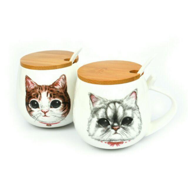 貓奴樂園❤手繪貓咪竹蓋陶瓷杯❤