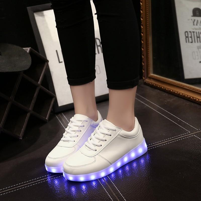 ~hello 大小姐~七彩閃光燈發光鞋LED 夜光鞋USB 充電男女鞋熒光鞋 潮流 板鞋