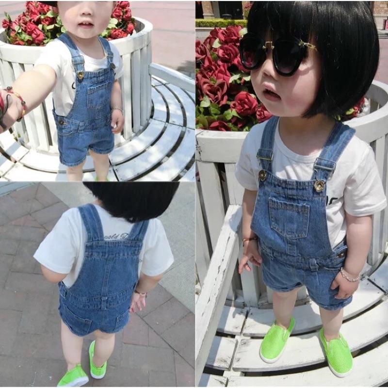 寶寶兒童男童女童吊帶褲牛仔背帶褲短褲