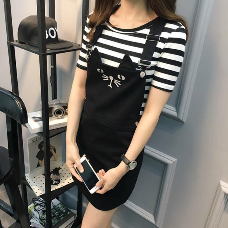 07211 大碼卡通貓咪女生吊帶裙條紋T 恤套裝