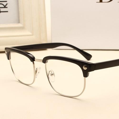 眼鏡框女潮男平光鏡黑框復古眼鏡可配近視鏡半框金屬眼鏡架B629