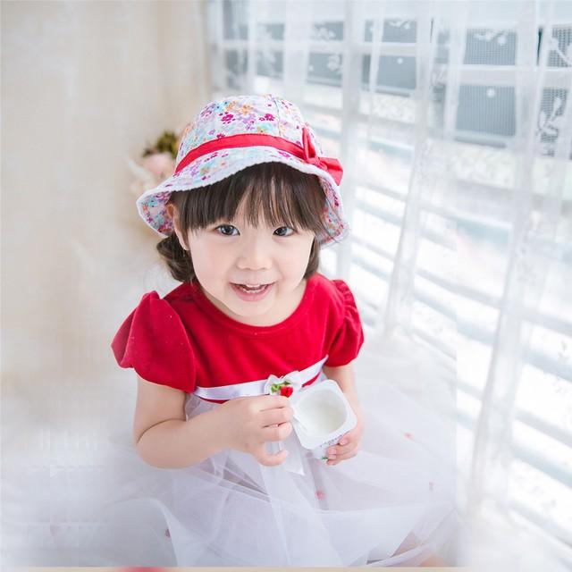 全棉印花清新碎花蝴蝶結兒童遮陽帽多色花朵女童漁夫帽