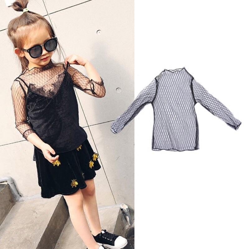 女童打底衫2017 春夏 兒童長袖網紗薄款透視裝菱格百搭T 恤上衣