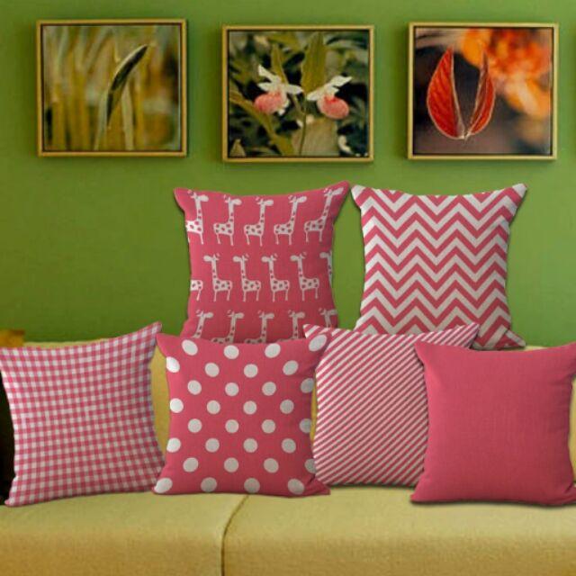 2 個350 粉紅色系列點點素色格子斜條紋菱形長頸鹿枕套棉麻沙發枕抱枕不含枕芯)