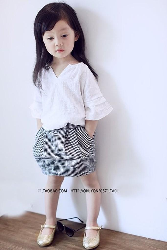 兒童套裝2016 新品女童氣質小V 領清新T 短袖格子短裙兩件套