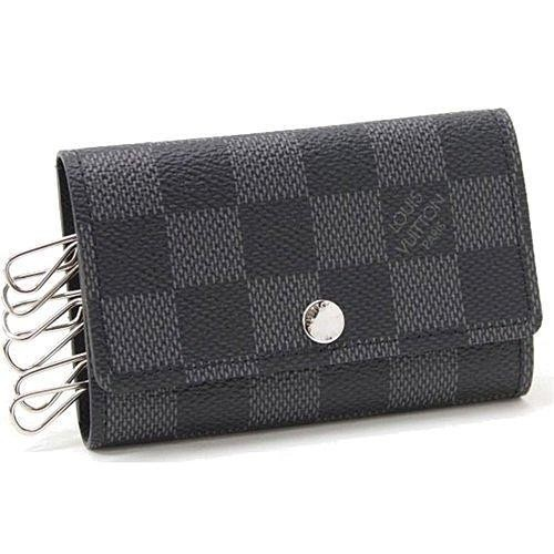 Louis Vuitton LV N62662 黑棋盤格紋六孔鑰匙包LV 男女鑰匙包棋盤格