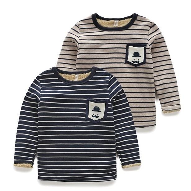 E1211 冬裝 兒童條紋胡子內搭衣男童寶寶加絨加厚T 恤長袖上衣打底衫MAMA 咪呀 衣