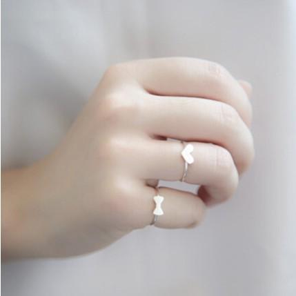 s925 純銀小清新簡約拉絲精緻蝴蝶結愛心開口戒指開口戒防過敏銀飾品