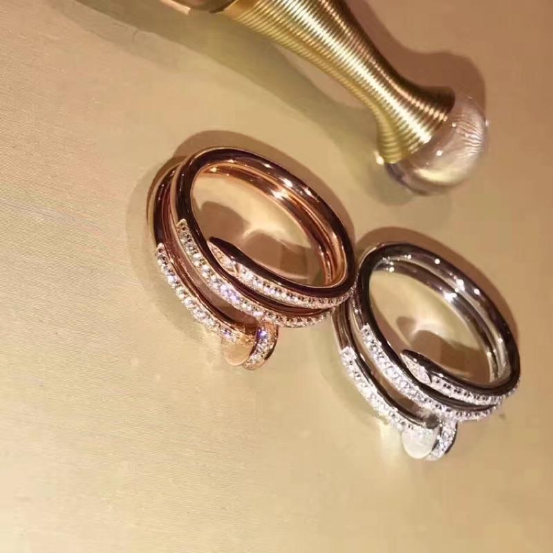 德國 925 純銀釘子戒指 級別AU750 工藝 雙層鑲鑽戒聖誕節情人節生日