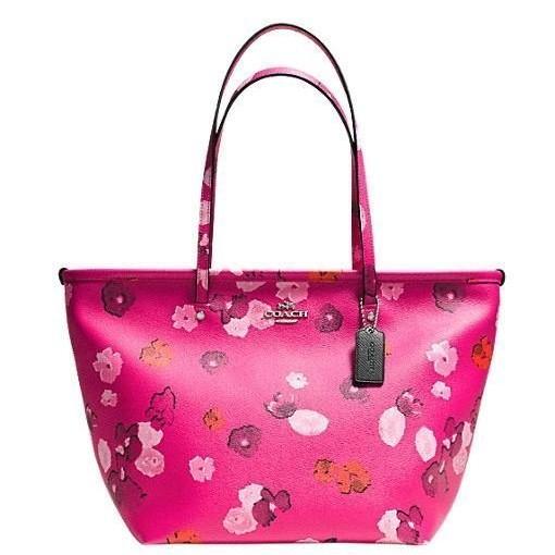 可 ⬇️ 在台降價 ✨ 正品COACH 35161 春夏 粉紅花漾防刮皮革肩背包