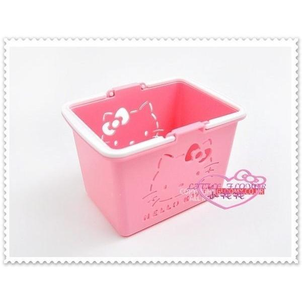 小花花 ~Hello Kitty 製迷你置物籃收納小提籃名片盒粉色大臉56843002