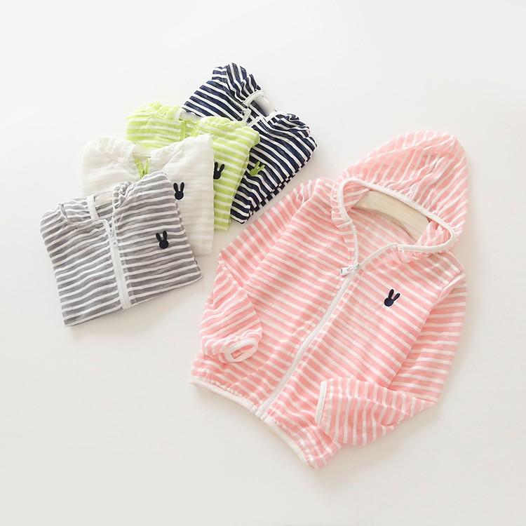 2016  女童女寶寶男童條紋防曬連帽小外套薄款 加