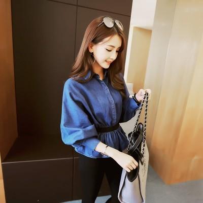 ▷韓風▽時代◁女裝外套 收腰裙擺燈籠蝙蝠袖上衣襯衫牛仔襯衣
