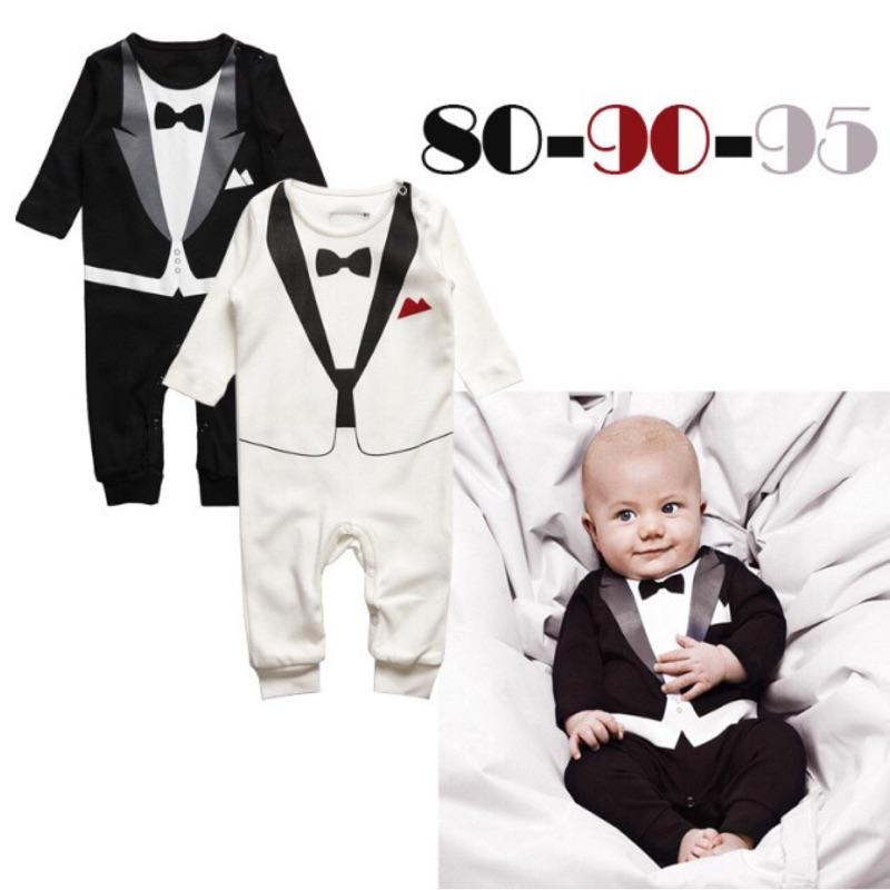 曈曈Baby 外貿 嬰幼兒男童紳士哈衣黑白領結長袖連身衣爬服