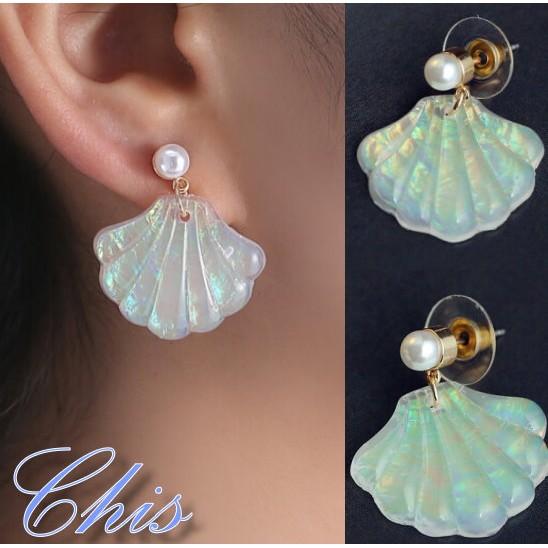 Chis Store ~珍珠貝殼耳環一對~韓國 風美人魚系列海洋風彩虹反光耳扣耳針耳棒極簡