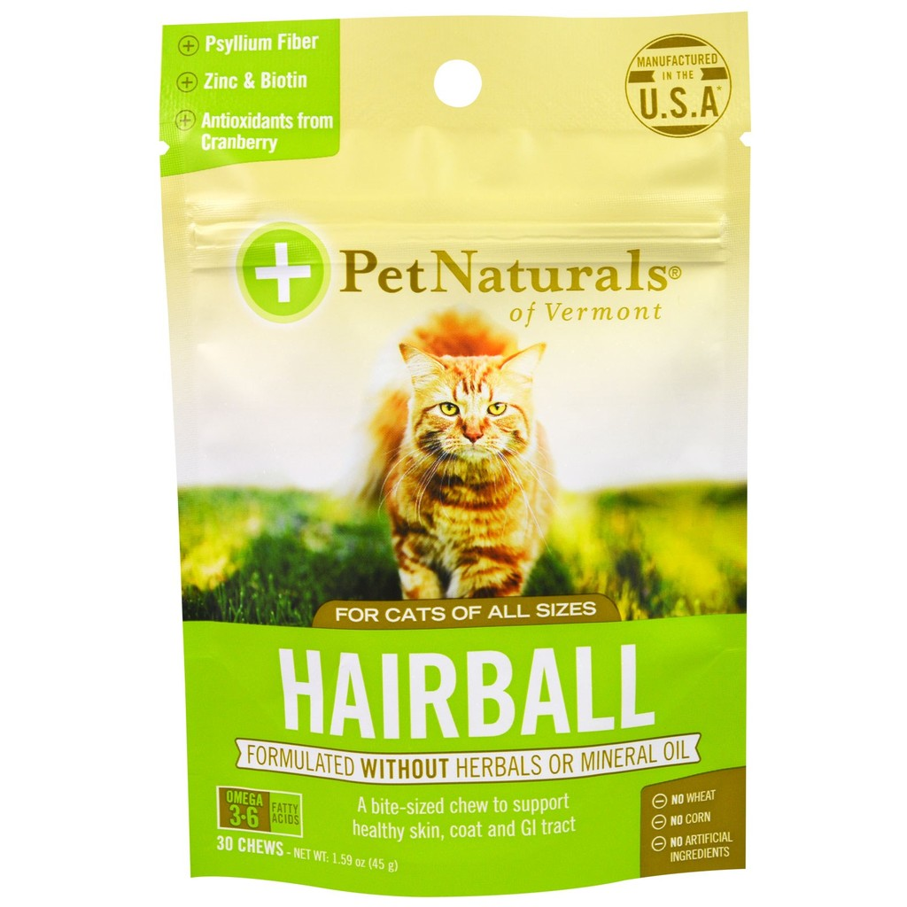 美國Pet Naturals of Vermont Hairball 30 顆45 g 貓