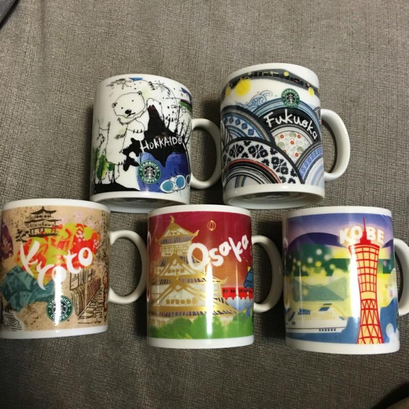 STARBUCKS 星巴克城市杯星巴克杯馬克杯 彩繪杯日彩杯大阪福岡京都北海道神戶