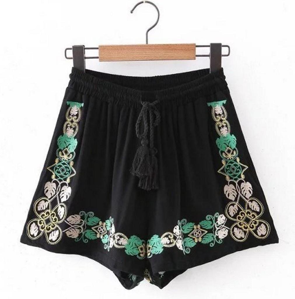 LF5604 外銷 典雅氣質雙色樹葉曲線花紋刺繡繩帶流蘇彈性鬆緊腰闊腿褲短褲