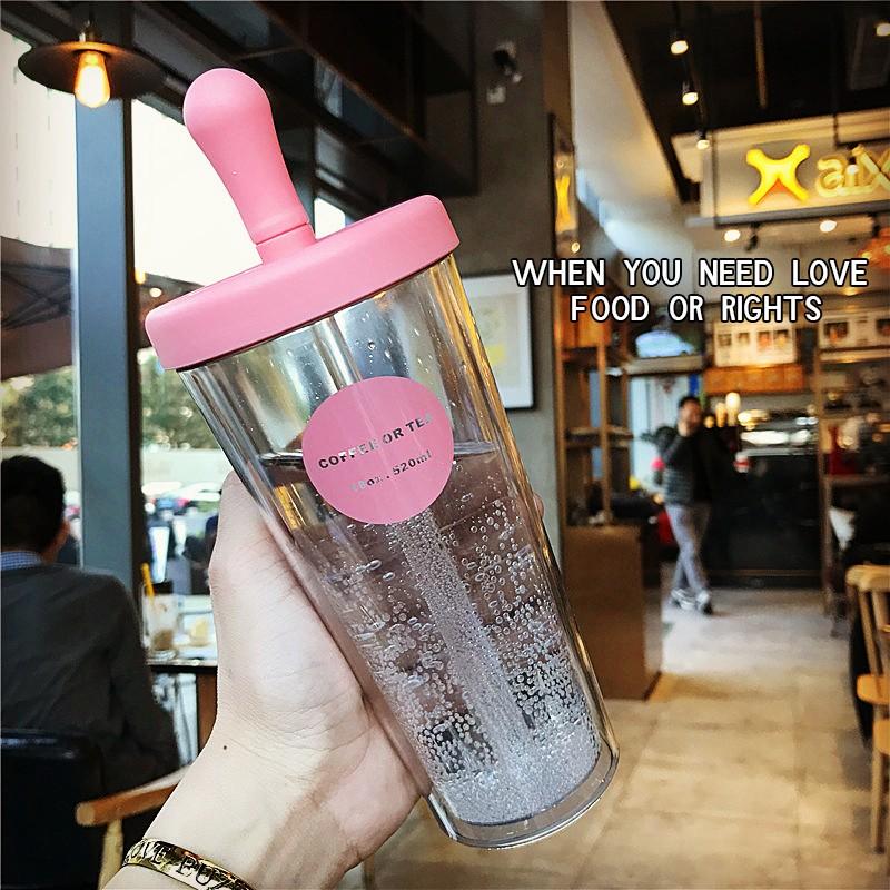 韓國簡約雙層大容量塑料吸管杯子 男女士學生透明牛奶果汁水瓶