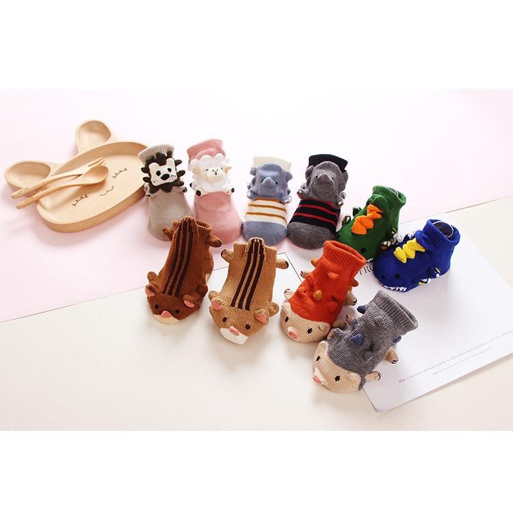 新生嬰兒點膠 公仔襪動物3D 立體襪卡通寶寶襪防滑童襪地板襪