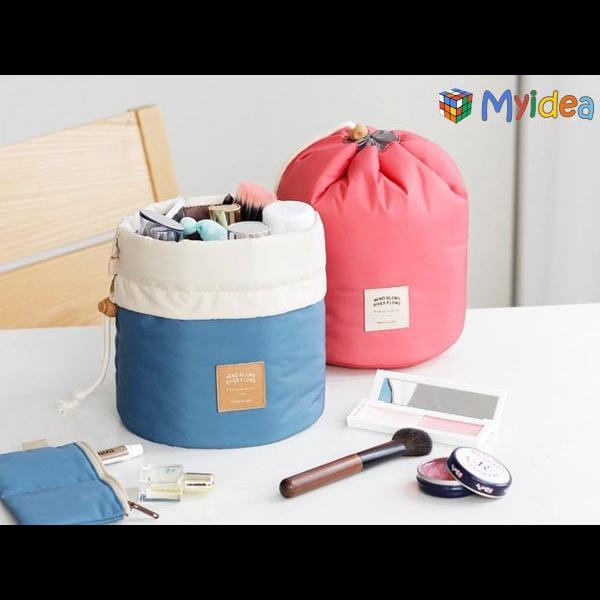 出國旅行多 化妝包圓筒大容量收納包戶外旅遊收納袋化妝品隱形眼鏡 放