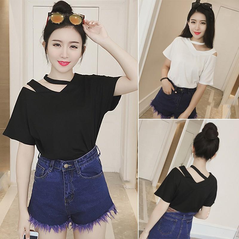 ❤ ❤2016  韓系氣質性感露肩純色短袖t 卹女寬鬆休閒半袖體恤潮
